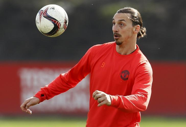 Britain Soccer Football - Manchester United Training - Manchester United Training Ground - 15/3/17 Manchester United's Zlatan Ibrahimovic during training Action Images via Reuters / Jason Cairnduff Livepic