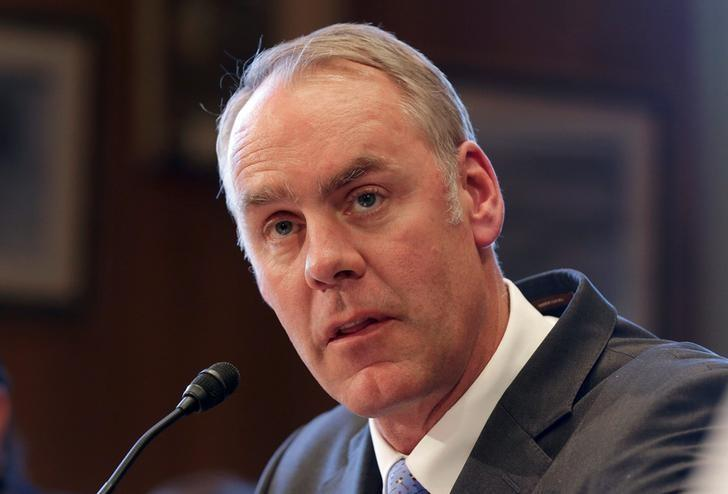 Interior Secretary Ryan Zinke testifies before the Senate Indian Affairs Committee on ''Identifying Indian Affairs priorities for the Trump Administration'' at the U.S. Capitol in Washington, U.S., March 8, 2017. REUTERS/Joshua Roberts
