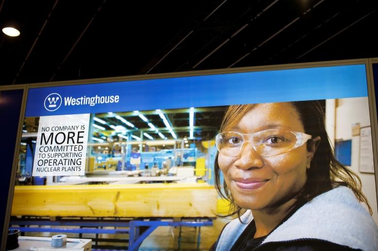FILE PHOTO: The logo of the American company Westinghouse is pictured at the World Nuclear Exhibition 2014, the trade fair event for the global nuclear energy sector, in Le Bourget, near Paris October 14, 2014. REUTERS/Benoit Tessier/File Photo
