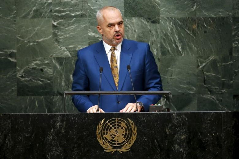 Edi Rama, Prime Minister of Albania, addresses attendees during the 70th session of the United Nations General Assembly at U.N. Headquarters in New York, October 2, 2015. REUTERS/Mike Segar/Files