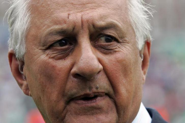 Pakistan Cricket Board Chairman Shaharyar Khan speaks during the fourth day of the fourth test cricket match at The Oval cricket ground in London August 20, 2006. REUTERS/Luke MacGregor/Files