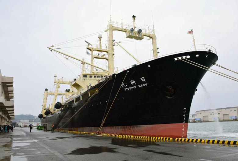 Japanese whaling vessel the Nisshin Maru returns to the Shimonoseki port in southwestern Japan in this photo taken by Kyodo on March 31, 2017, after it and two other vessels hunted 333 minke whales in the Antarctic Ocean. Mandatory credit Kyodo/via REUTERS