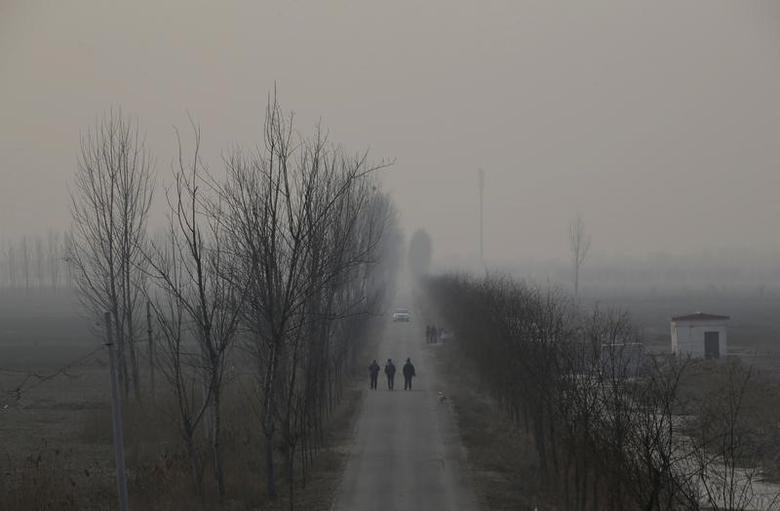 People walk along a village road on a polluted day after the Chinese Lunar New Year holidays on the outskirts of Langfang, Hebei province, China, February 3, 2017. REUTERS/Jason Lee