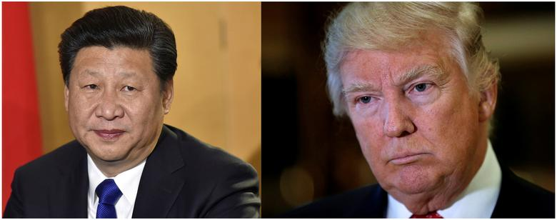 FILE PHOTO:  A combination of file photos showing Chinese President Xi Jinping (L) in London's Heathrow Airport, October 19, 2015 and (R) U.S. President Donald Trump listening to questions from reporters in New York, U.S., January 9, 2017. REUTERS/Toby Melville/Mike Segar/File Photos