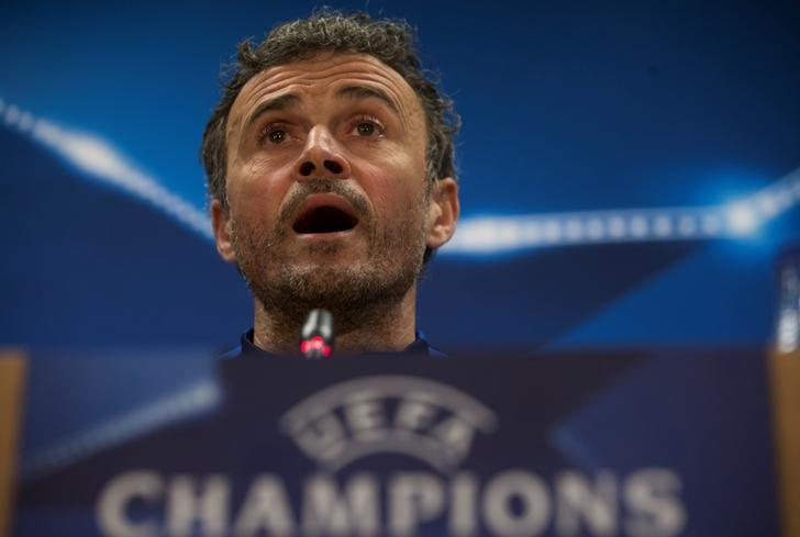 Football Soccer - Barcelona news conference - UEFA Champions League - Joan Gamper training camp, Sant Joan Despi, outside Barcelona, Spain - 7/3/17 - Barcelona's coach Luis Enrique Martinez attends a news conference. REUTERS/Sergio Perez