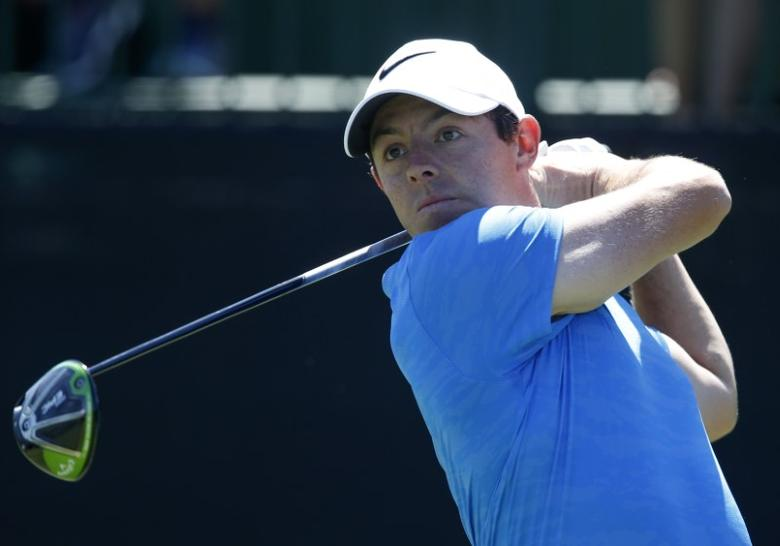 Mar 19, 2017; Orlando, FL, USA; Rory McIlroy hits his tee shot on the first hole during the final round of the Arnold Palmer Invitational golf tournament at Bay Hill Club & Lodge . Mandatory Credit: Reinhold Matay-USA TODAY Sports