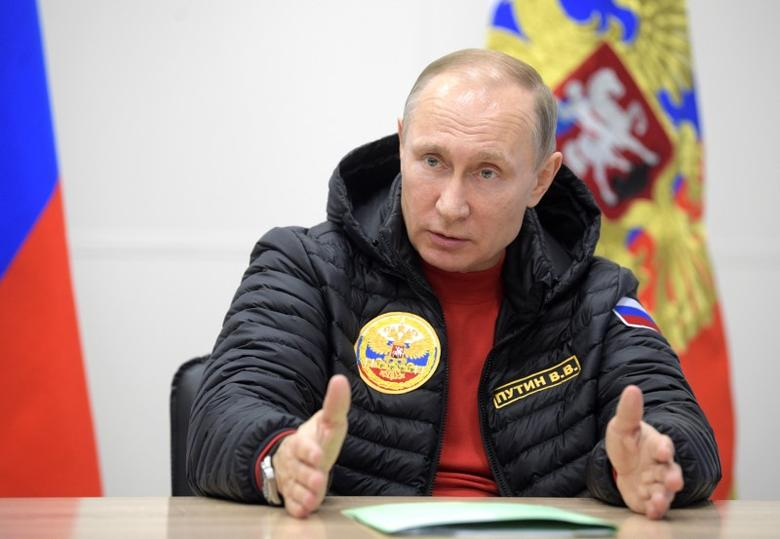 Russian President Vladimir Putin speaks during a meeting on integrated development of the Arctic at a military base in Alexandra Land in remote Arctic islands of Franz Josef Land, Russia March 29, 2017. Sputnik/Alexei Druzhinin/Kremlin via REUTERS