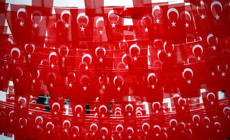 A street is decorated with Turkish flags during a rally for the upcoming referendum in the Kurdish-dominated southeastern city of Diyarbakir, Turkey, April 1, 2017. REUTERS/Murad Sezer