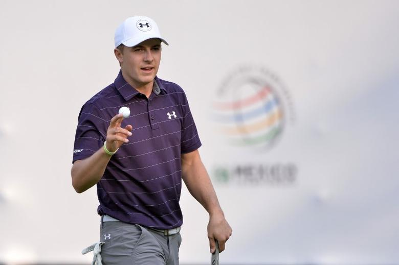 Mar 2, 2017; Mexico City, MEX; Jordan Spieth waves to the crowd after a putt on the 17th green during the first round of the WGC - Mexico Championship golf tournament  at Club de Golf Chapultepec. Mandatory Credit: Orlando Ramirez-USA TODAY Sports