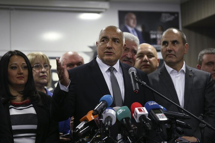 Former Bulgarian prime minister and leader of centre-right GERB party Boiko Borisov speaks during a news conference at the party's headquarters in Sofia, Bulgaria March 26, 2017.  REUTERS/Stoyan Nenov/File Photo