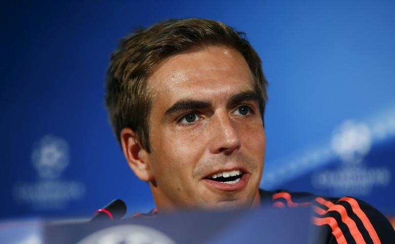 Bayern Munich's Philipp Lahm speaks during a news conference at the team's hotel ahead of their Champions League group F soccer match against Olympiacos  in Athens, Greece, September 15, 2015.   REUTERS/Paul Hanna