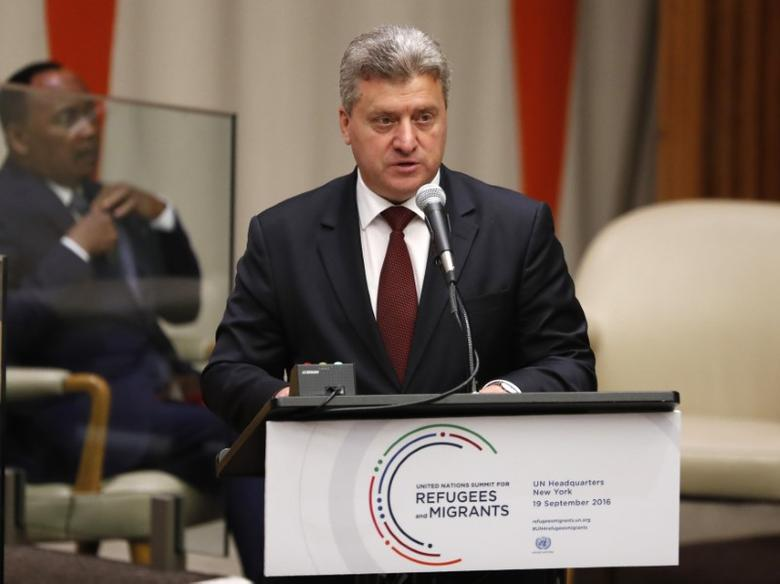President Gjorge Ivanov of Macedonia speaks during a high-level meeting on addressing large movements of refugees and migrants at the United Nations General Assembly in Manhattan, New York, U.S., September 19, 2016. REUTERS/Lucas Jackson