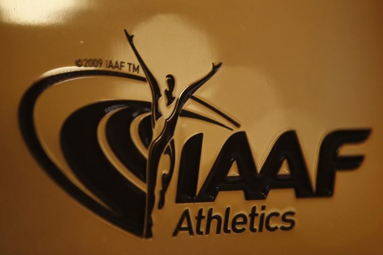 A view shows the logo at the The International Association of Athletics Federations (IAAF) headquarters in Monaco, January 14, 2016. REUTERS/Eric Gaillard