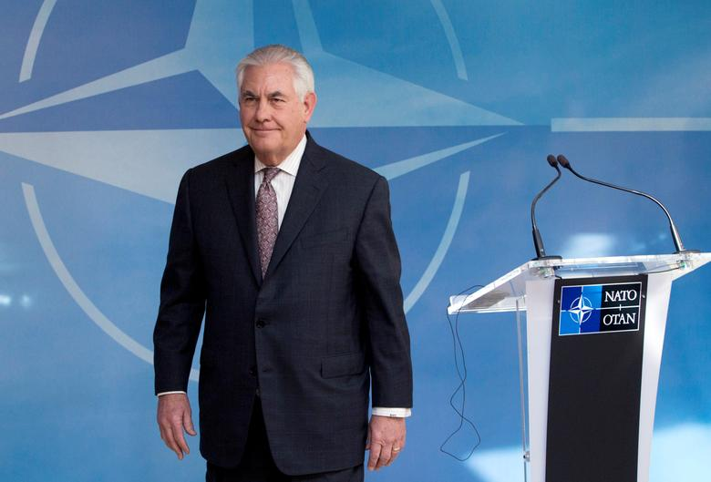 U.S. Secretary of State Rex Tillerson takes part in a NATO foreign ministers meeting at the Alliance's headquarters in Brussels, Belgium March 31, 2017. REUTERS/Virginia Mayo/Pool