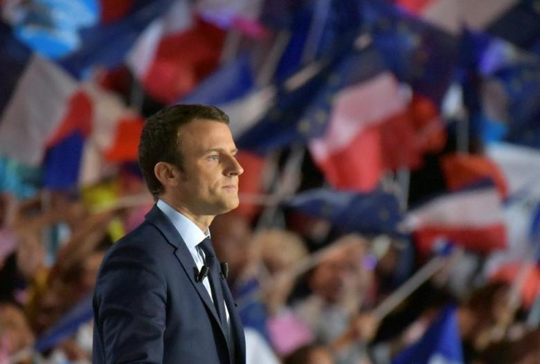 Emmanuel Macron, head of the political movement En Marche !, or Onwards !, and candidate for the 2017 French presidential election, attends a campaign rally in Marseille, France.  REUTERS/Philippe Laurenson