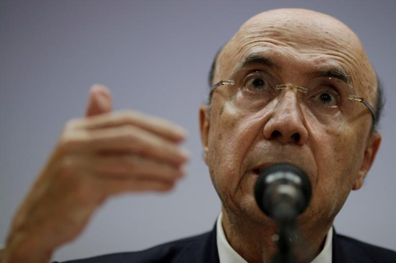 Brazil's Finance Minister Henrique Meirelles speaks during a news conference to announce tax hikes and spending cuts, in Brasilia, Brazil March 29, 2017. REUTERS/Ueslei Marcelino