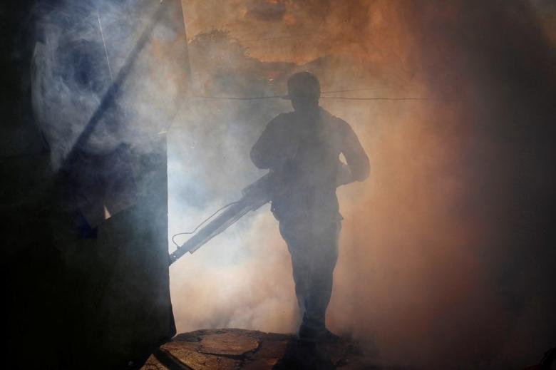 A health ministry worker fumigates a house to kill mosquitoes during a campaign against dengue and chikungunya and to prevent Zika infection in Managua, Nicaragua October 27,2016. REUTERS/Oswaldo Rivas