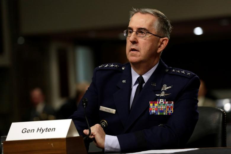 U.S. Air Force General John Hyten, Commander of U.S. Strategic Command, testifies in a Senate Armed Services Committee hearing on Capitol Hill in Washington, U.S., April 4, 2017. REUTERS/Yuri Gripas - RTX341BH