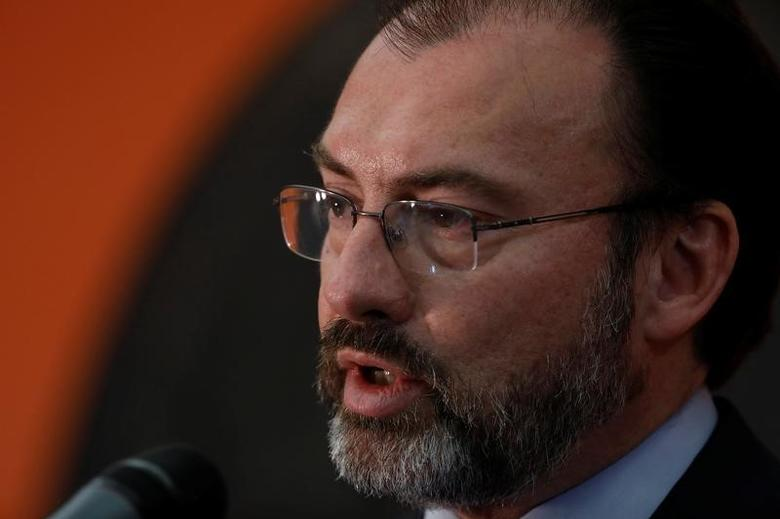 FILE PHOTO: Mexican Foreign Minister Luis Videgaray speaks at a news conference at the Mexican Embassy in Washington March 9, 2017. REUTERS/Aaron P. Bernstein
