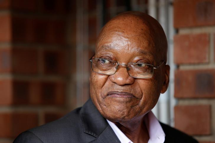FILE PHOTO: South Africa's President Jacob Zuma reacts during the launch of a social housing project in Pietermaritzburg, South Africa, April 1, 2017. REUTERS/Rogan Ward/File photo