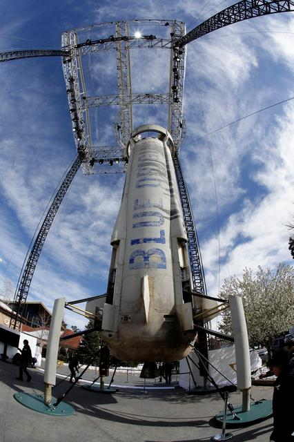A general view of the Blue Origin New Shepard rocket booster at the 33rd Space Symposium in Colorado Springs, Colorado, United States April 5, 2017.  REUTERS/Isaiah J. Downing