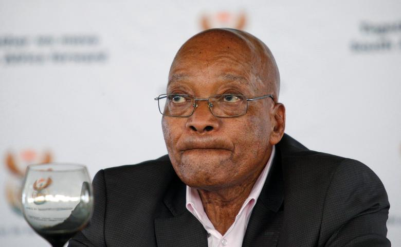 FILE PHOTO: South Africa's President Jacob Zuma reacts during a rally following the launch of a social housing project in Pietermaritzburg, South Africa, April 1, 2017. REUTERS/Rogan Ward/File Photo