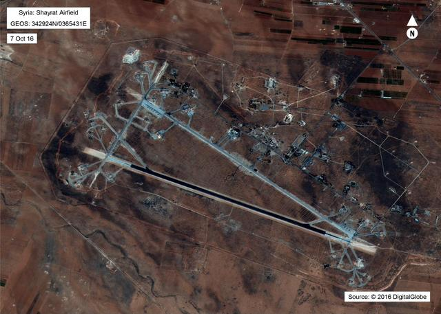 Shayrat Airfield in Homs, Syria is seen in this DigitalGlobe satellite image released by the U.S. Defense Department on April 6, 2017 after announcing U.S. forces conducted a cruise missile strike against the Syrian Air Force airfield.   DigitalGlobe/Courtesy U.S. Department of Defense/Handout via REUTERS