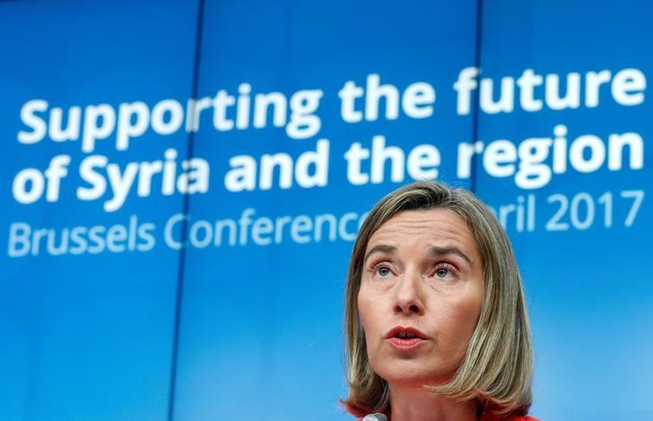 European Union foreign policy chief Federica Mogherini takes part in a joint news conference during an international conference on the future of Syria and the region, in Brussels, Belgium, April 5, 2017. REUTERS/Yves Herman