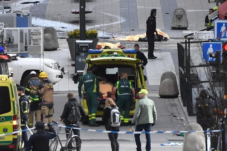 People were killed when a truck crashed into department store Ahlens on Drottninggatan, in central Stockholm, Sweden April 7, 2017. TT News Agency/Fredrik Sandberg/via REUTERS