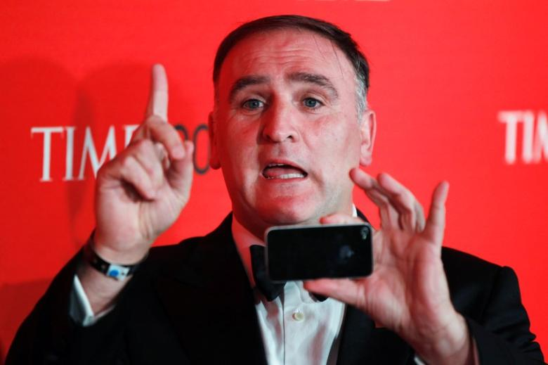 Chef Jose Andres arrives to be honored at the Time 100 Gala in New York, April 24, 2012. REUTERS/Lucas Jackson/File Photo