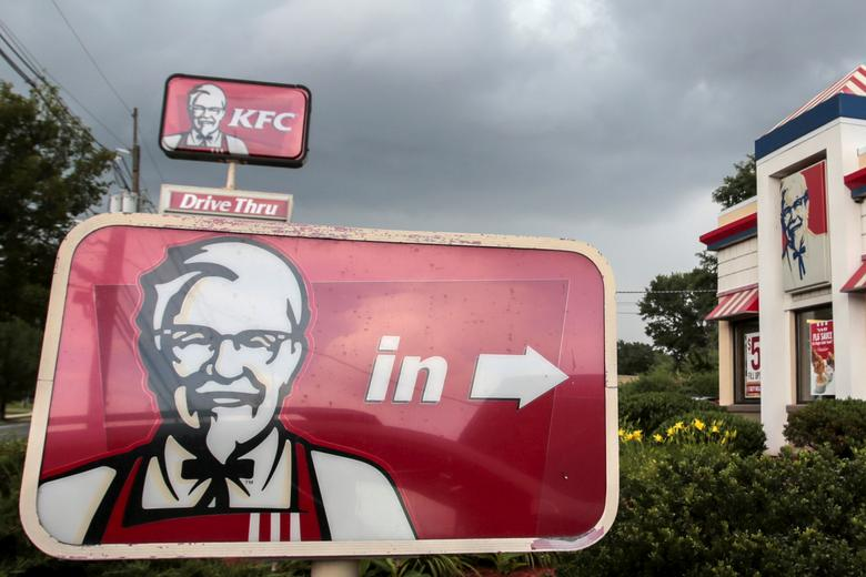 FILE PHOTO: A Kentucky Fried Chicken (KFC) sign is pictured outside its restaurant in Paramus, New Jersey July 8, 2015.  REUTERS/Eduardo Munoz/File Photo