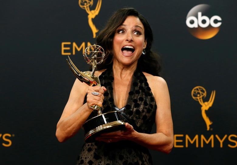 FILE PHOTO --  Actress Julia Louis-Dreyfus poses backstage with her award for Outstanding Lead Actress In A Comedy Series for her role in HBO's ''Veep'' at the 68th Primetime Emmy Awards in Los Angeles, California U.S., September 18, 2016.  REUTERS/Mario Anzuoni/File Photo
