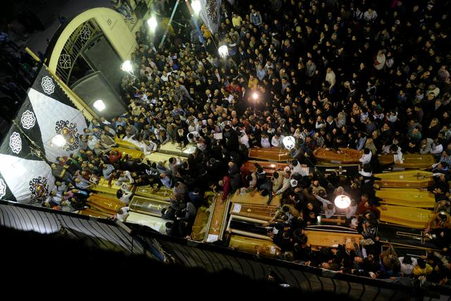 General view of the coffins of victims of Sunday's church attack in Tanta, Egypt, April 9, 2017. REUTERS/Mohamed Abd El Ghany
