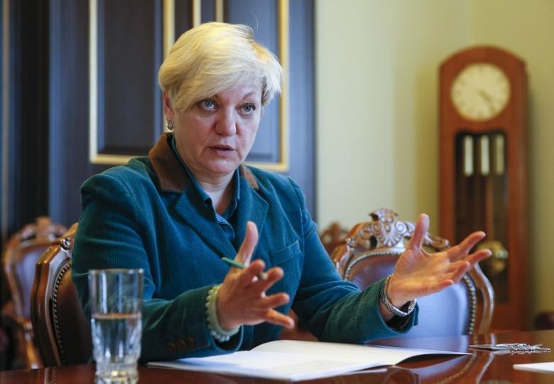 FILE PHOTO: Ukrainian Central Bank Governor Valeriia Gontareva speaks during an interview with Reuters in Kiev, Ukraine, February 20, 2017. Picture taken February 20, 2017. REUTERS/Valentyn Ogirenko