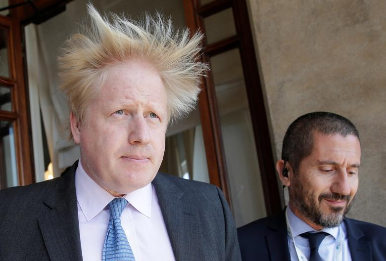 Britain's Foreign Secretary Boris Johnson leaves at the end of a bilateral meeting during a G7 for foreign ministers in Lucca, Italy April 10, 2017. REUTERS/Max Rossi