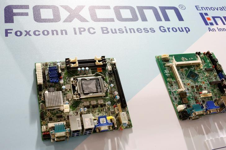 FILE PHOTO: Foxconn's computer motherboards are seen during the annual Computex computer exhibition in Taipei, Taiwan June 1, 2016. REUTERS/Tyrone Siu/File Photo