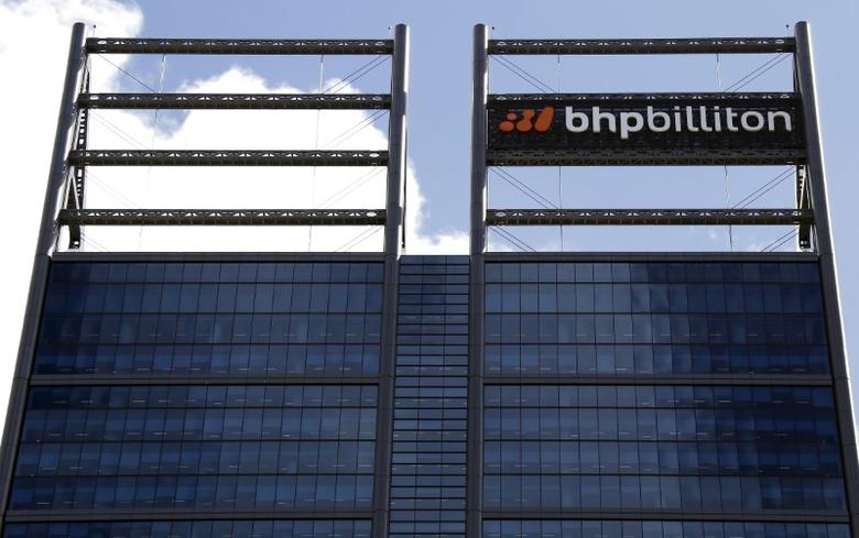 A sign adorns the building where mining company BHP Billiton has their office in Perth, Western Australia, November 19, 2015. REUTERS/David Gray