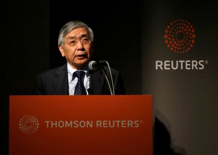 FILE PHOTO: Bank of Japan (BOJ) Governor Haruhiko Kuroda speaks during a Reuters Newsmaker event in Tokyo, Japan March 24, 2017. REUTERS/Toru Hanai