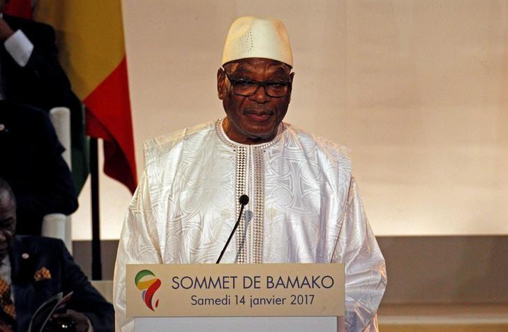 Ibrahim Boubacar Keita, President of Mali talks at the international conference center of Bamako during the France-Africa summit in Bamako, Mali, January 14, 2017. REUTERS/Luc Gnago