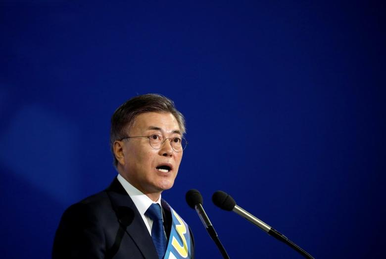 Moon Jae-in speaks after winning the nomination as a presidential candidate of the Minjoo Party, during a national convention, in Seoul, South Korea, April 3, 2017.  REUTERS/Kim Hong-Ji