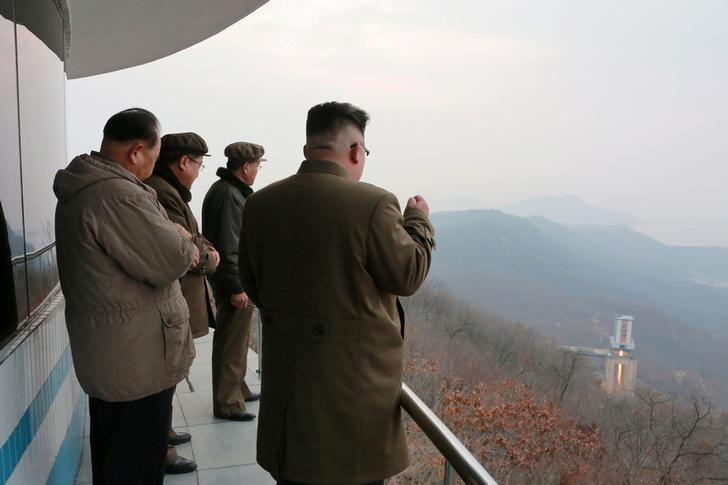FILE PHOTO: North Korean leader Kim Jong Un watched the ground jet test of a Korean-style high-thrust engine newly developed by the Academy of the National Defence Science in this undated picture provided by KCNA in Pyongyang on March 19, 2017. KCNA/via Reuters/File Photo