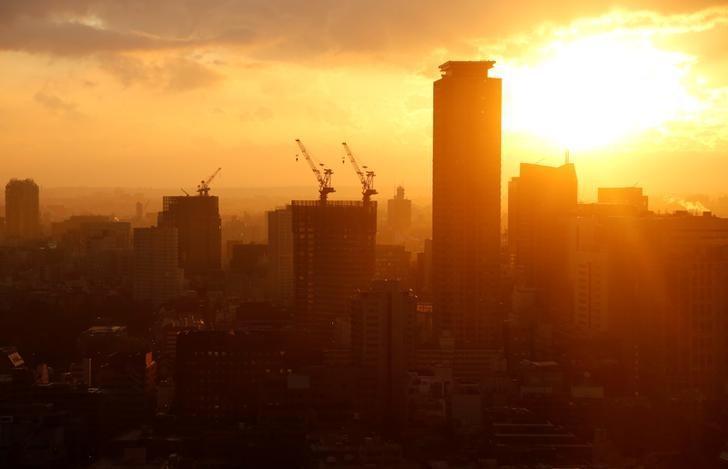 2017年3月7日,日本东京,暮色中的高楼大厦。REUTERS/Toru Hanai