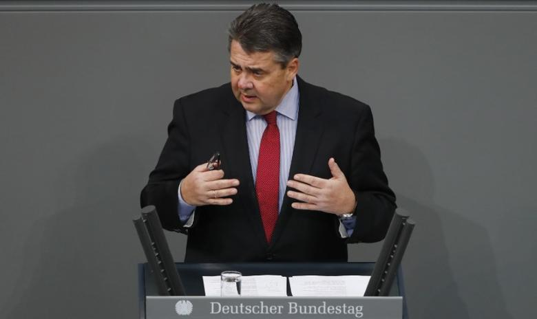 FILE PHOTO: Sigmar Gabriel addresses the lower house of parliament Bundestag in Berlin, Germany, January 26, 2017.     REUTERS/Fabrizio Bensch