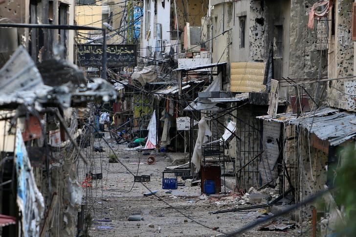 A view shows the damage inside the Ain el-Hilweh refugee camp near Sidon, southern Lebanon April 11, 2017. REUTERS/Ali Hashisho
