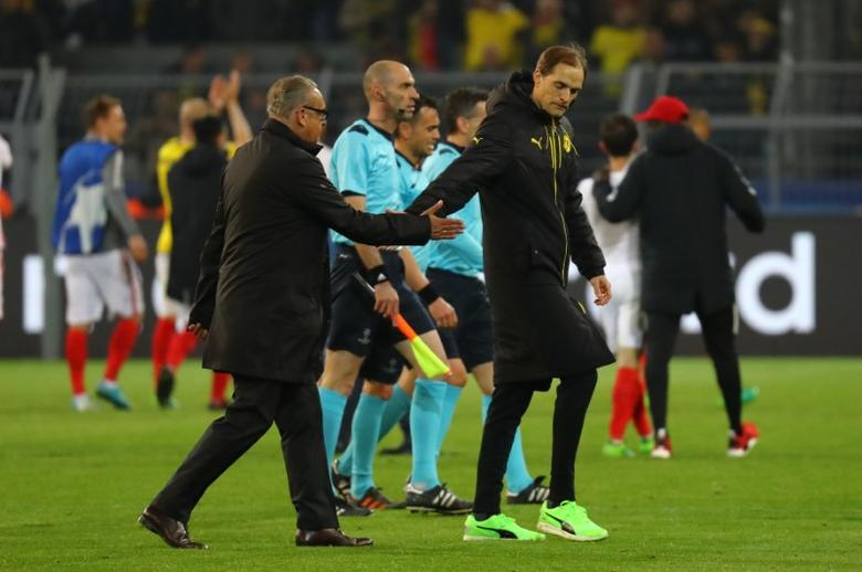 Football Soccer - Borussia Dortmund v AS Monaco - UEFA Champions League Quarter Final First Leg - Signal Iduna Park, Dortmund, Germany - 12/4/17 Borussia Dortmund coach Thomas Tuchel looks dejected after the match  Reuters / Kai Pfaffenbach Livepic