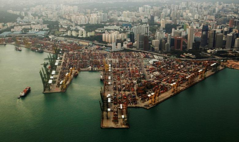 An aerial view of shipping containers stacked at the port of Singapore February 14, 2012. REUTERS/Edgar Su/File Photo