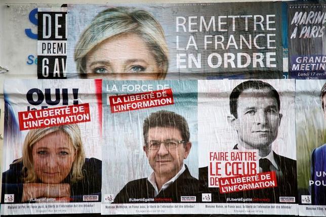 4月13日、調査会社オピニオンウェイが公表したフランス大統領選に関する最新の世論調査によると、決選投票では、マクロン氏対ルペン氏の場合、63%対37%でマクロン氏勝利、フィヨン氏対ルペン氏の場合、59%対41%でフィヨン氏勝利となる見込み。写真は候補者らの選挙ポスター。5日撮影(2017年 ロイター/Charles Platiau/File Photo)