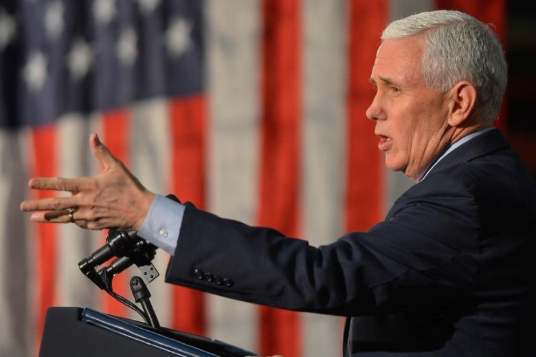 FILE PHOTO - US Vice President Mike Pence speaks about the American Health Care Act during a visit to the Harshaw-Trane Parts and Distribution Center in Louisville, Kentucky, U.S., March 11, 2017.  REUTERS / Bryan Woolston