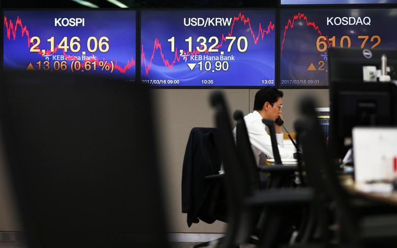 A currency dealer works in front of electronic boards showing the Korea Composite Stock Price Index (KOSPI) (L) and the exchange rate between the South Korean won and the U.S. dollar at a bank in Seoul, South Korea, March 16, 2017. REUTERS/Kim Kyung-Hoon