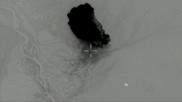 Still image taken from a video released by the U.S. Department of Defense on April 14, 2017 shows the moment after a MOAB, or ''mother of all bombs'', struck the Achin district of the eastern province of Nangarhar, Afghanistan, bordering Pakistan where U.S. officials said a network of tunnels and caves was being used by militants linked to Islamic State. U.S. Department of Defense/Handout via REUTERS ATTENTION EDITORS - THIS IMAGE WAS PROVIDED BY A THIRD PARTY. EDITORIAL USE ONLY.